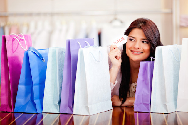 Woman shopping on sale
