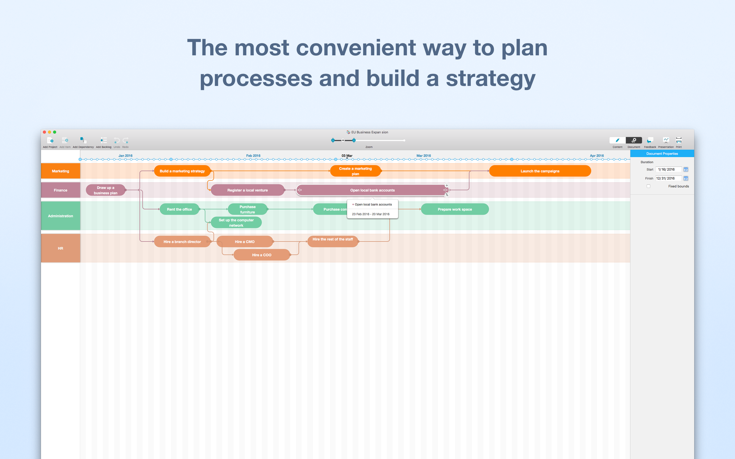 Screen with a roadmap plan