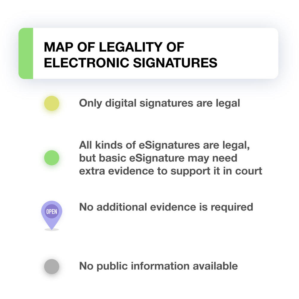 Electronic Real Id Application: World Map: Are Electronic Signatures Legal? (Infographics