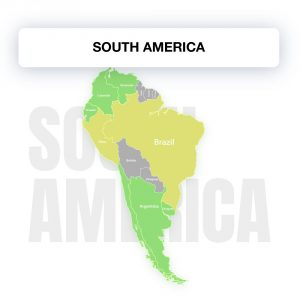 Map of South America, showing the legality of electronic signature by countries