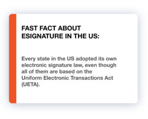 Fast Fact about eSignature in the US: Every state in the US adopted its own electronic signature law, even though all of them are based on the Uniform Electronic Transactions Act (UETA).