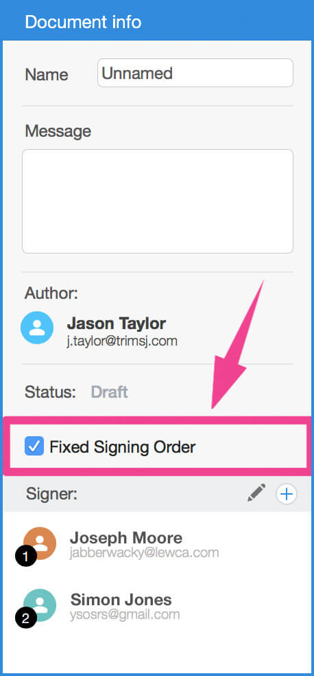 Electronic signature software, a fixed signing order