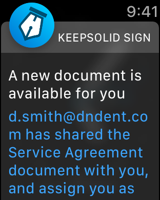 Get immediate notifications on your Apple Watch with KeepSolid Sign