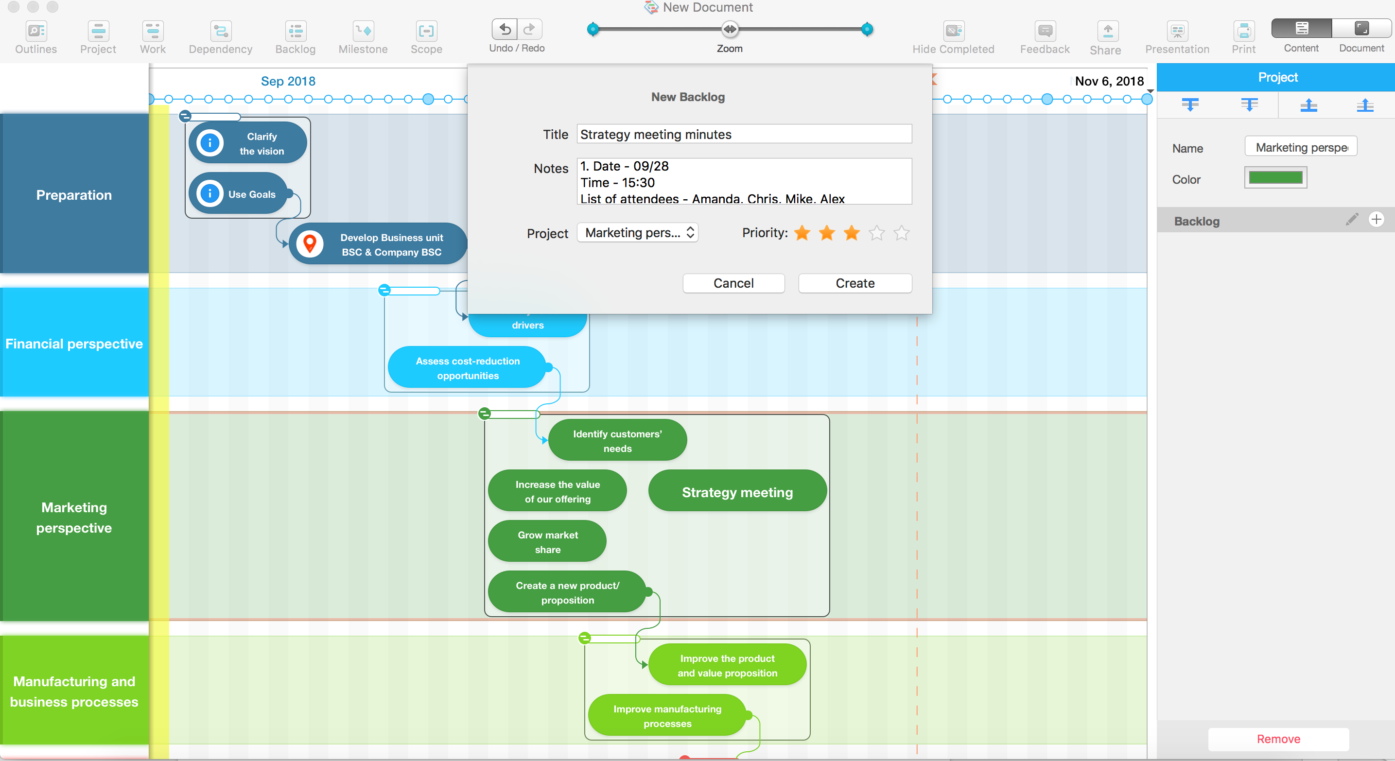 Organizing meeting minutes with Roadmap Planner