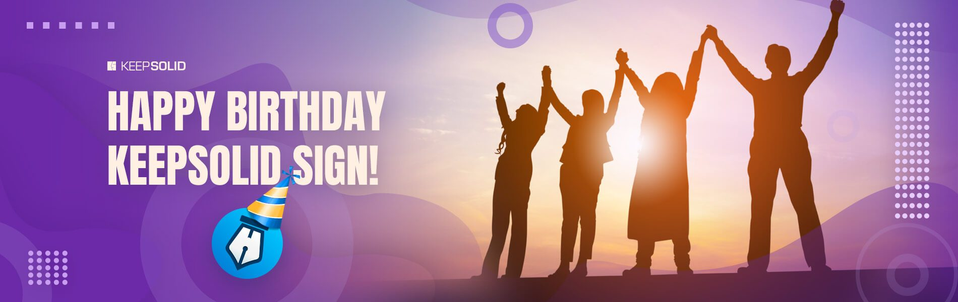 Silhouette of Business People Celebrating a Birthday of Electronic Signature Solution by KeepSolid.