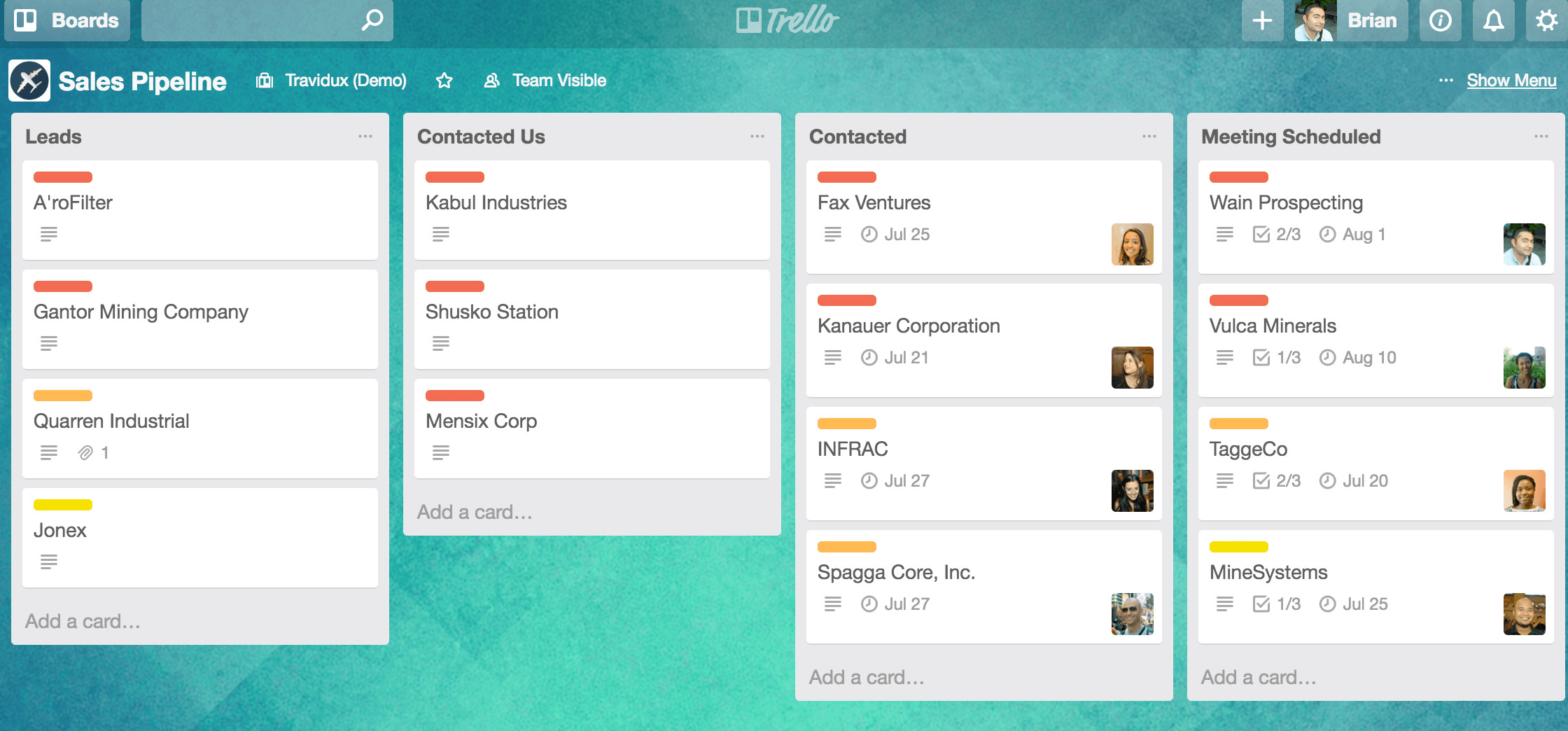 Trello board sales pipeline interface