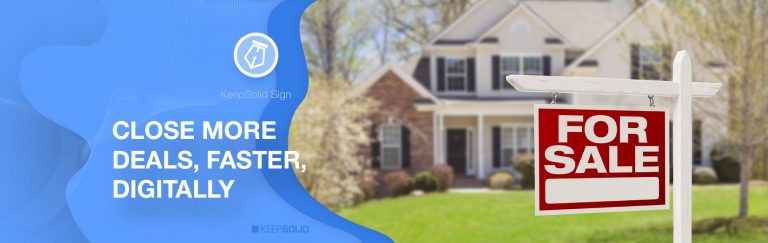 Home For Sale Real Estate Sign and Beautiful New House Sold by Realtor With Electronic Signature