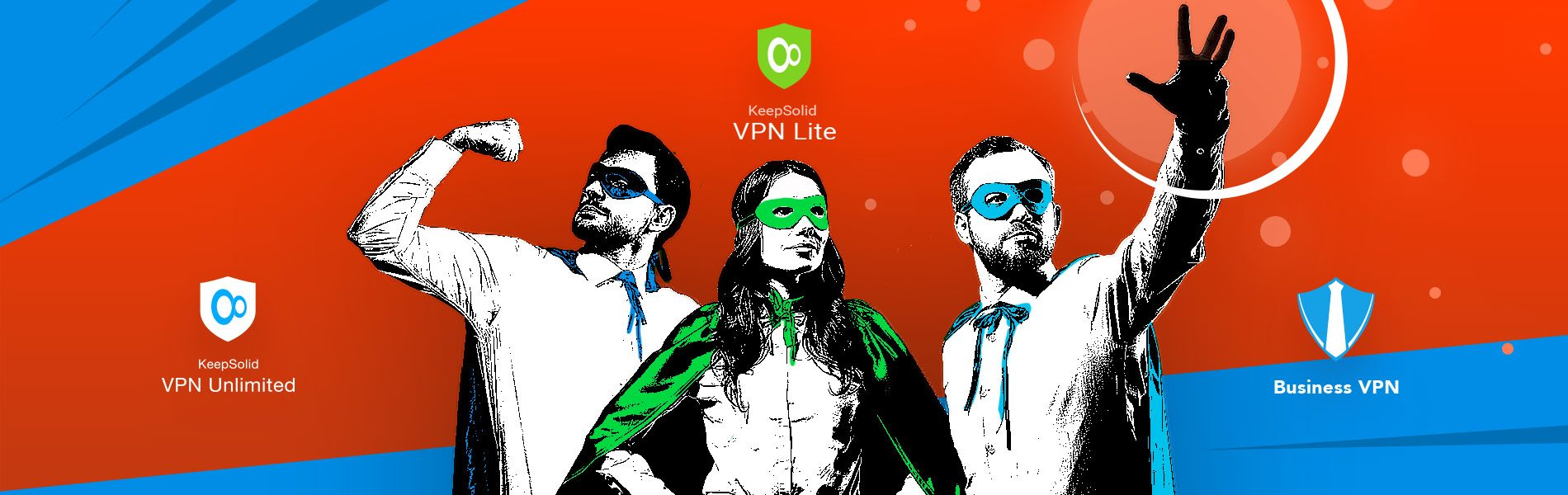 Super businesspeople in masks and capes showing superpower and the official release of free VPN Lite and VPN Lite Turbo
