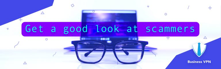 using glasses to see a notebook with a message from scammers clearly