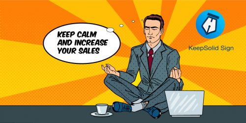 Salesman relaxing on the Office Table with Laptop and using e-Signature solution for sales teams
