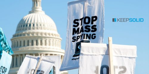 Signs held by protesters during a rally against mass surveillance in Washington, DC