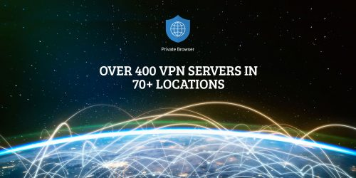 Private Browser server network connected across planet Earth , view from space.