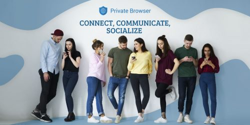 Full length portrait of group of diverse people use smartphones with secure private internet browsers