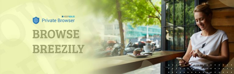 Charming woman with beautiful smile reading good news on mobile phone during rest in coffee shop using secure Private Browser