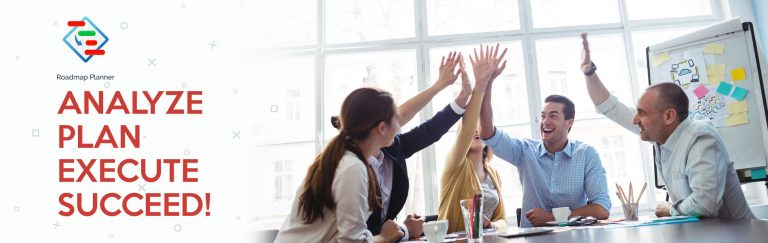 Businessmen giving high-five in meeting room after achieving their goals due to gap analysis and Roadmap Planner