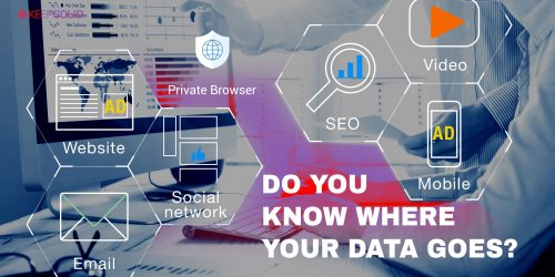 Concept of digital marketing media (website ad, email, social network, SEO, video, mobile app) that targets you without Private Browser