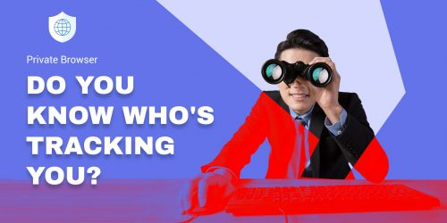 Business man uses binocular for corporate surveillance, not even private browsing mode can save