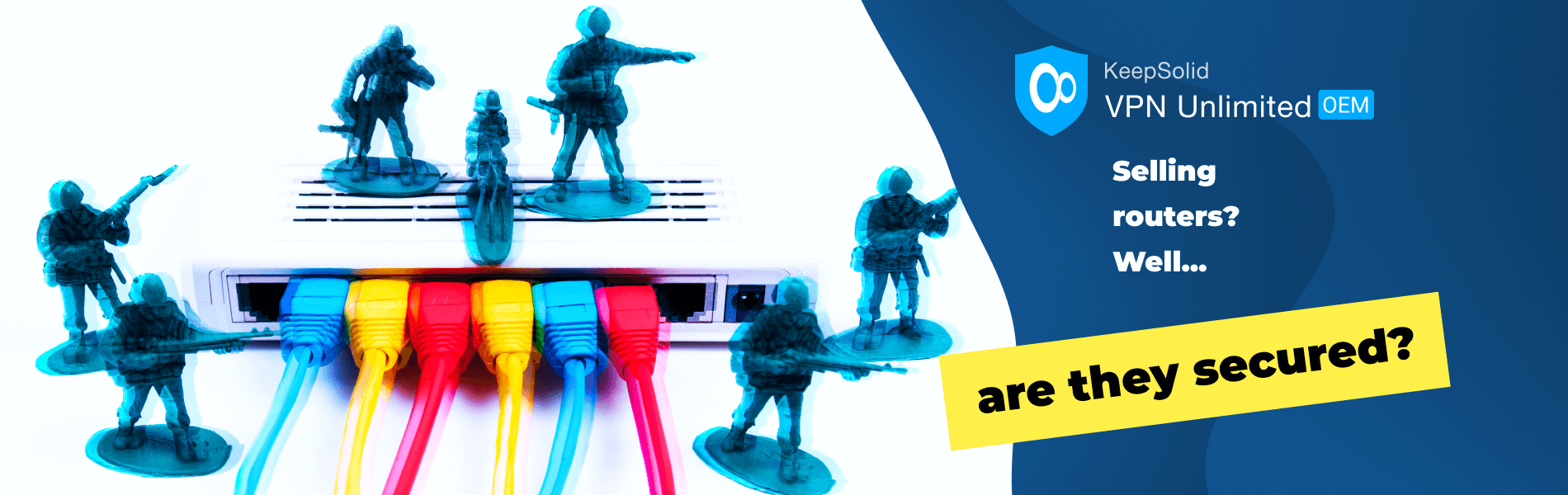 Network security with toy soldiers guarding router like VPN Unlimited OEM for routers