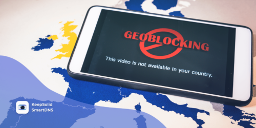 Smartphone with geo-blocking over EU map. One of the reasons for the problem of Netflix not working (or any other streaming services)
