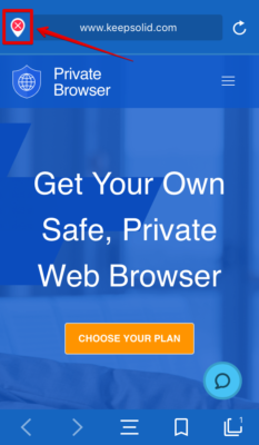 Servers button in Private Browser