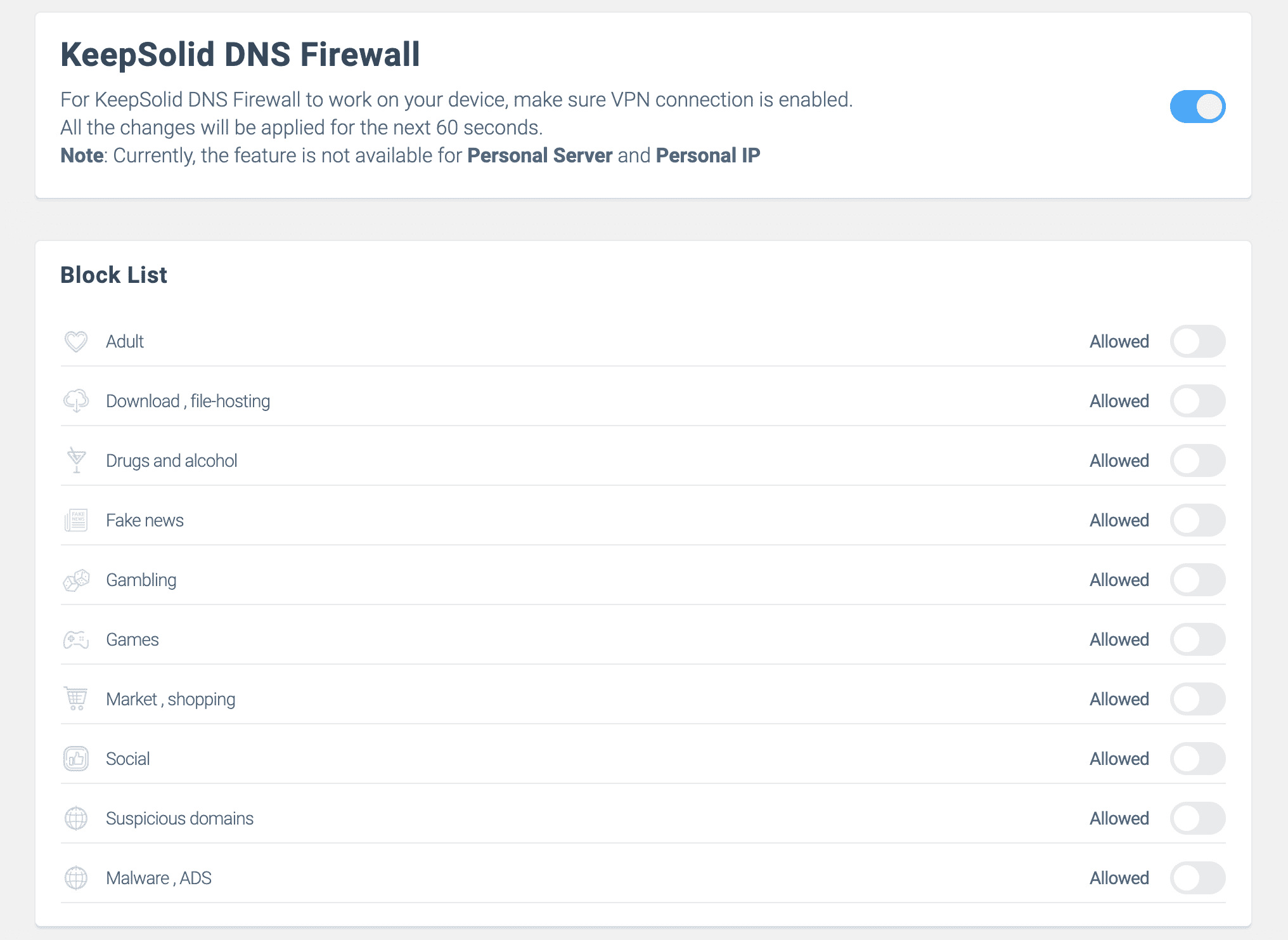 KeepSolid DNS Firewall settings