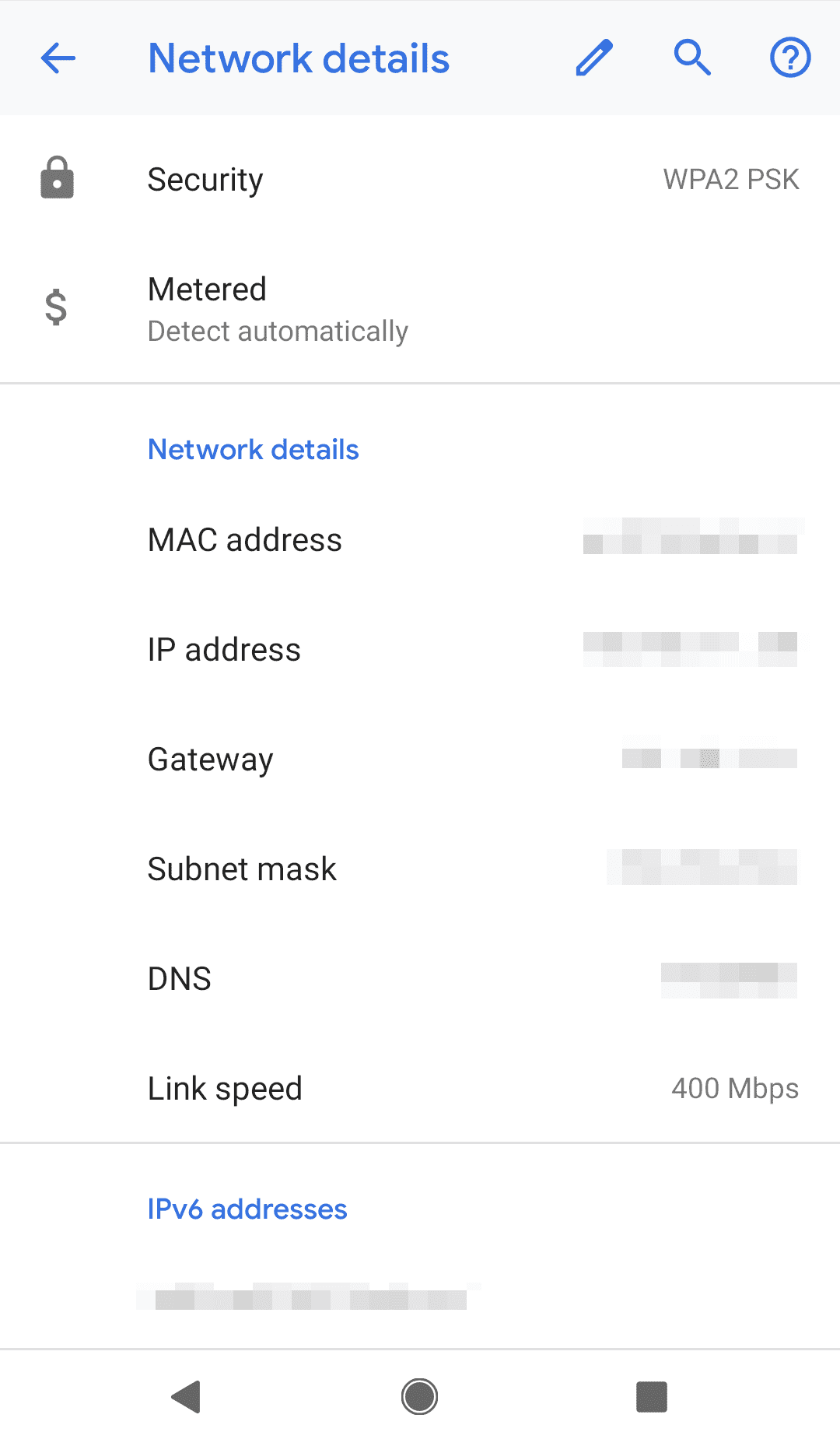 Change DNS on Android: save network details