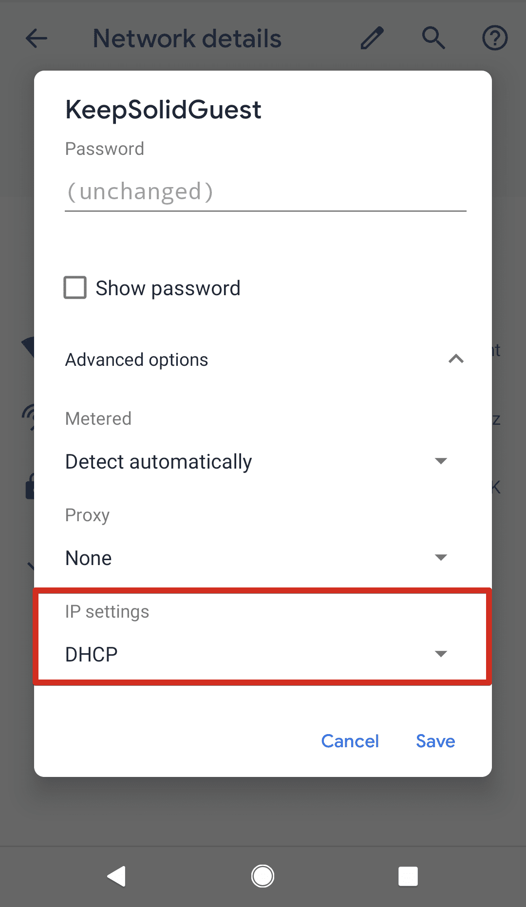 Android DNS Settings > IP settings