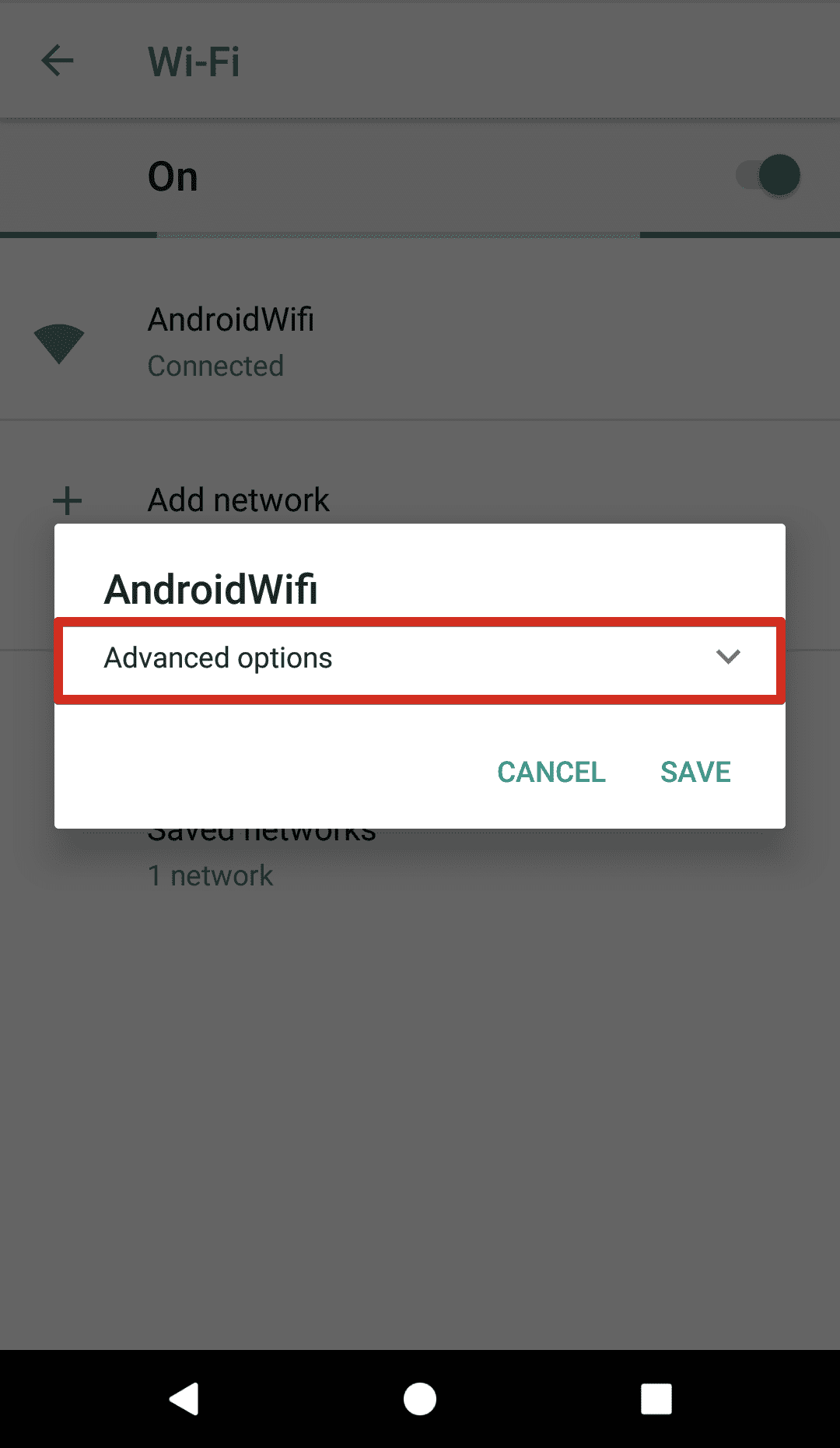 Configure SmartDNS on Android 8 - WiFi network screen with advanced options