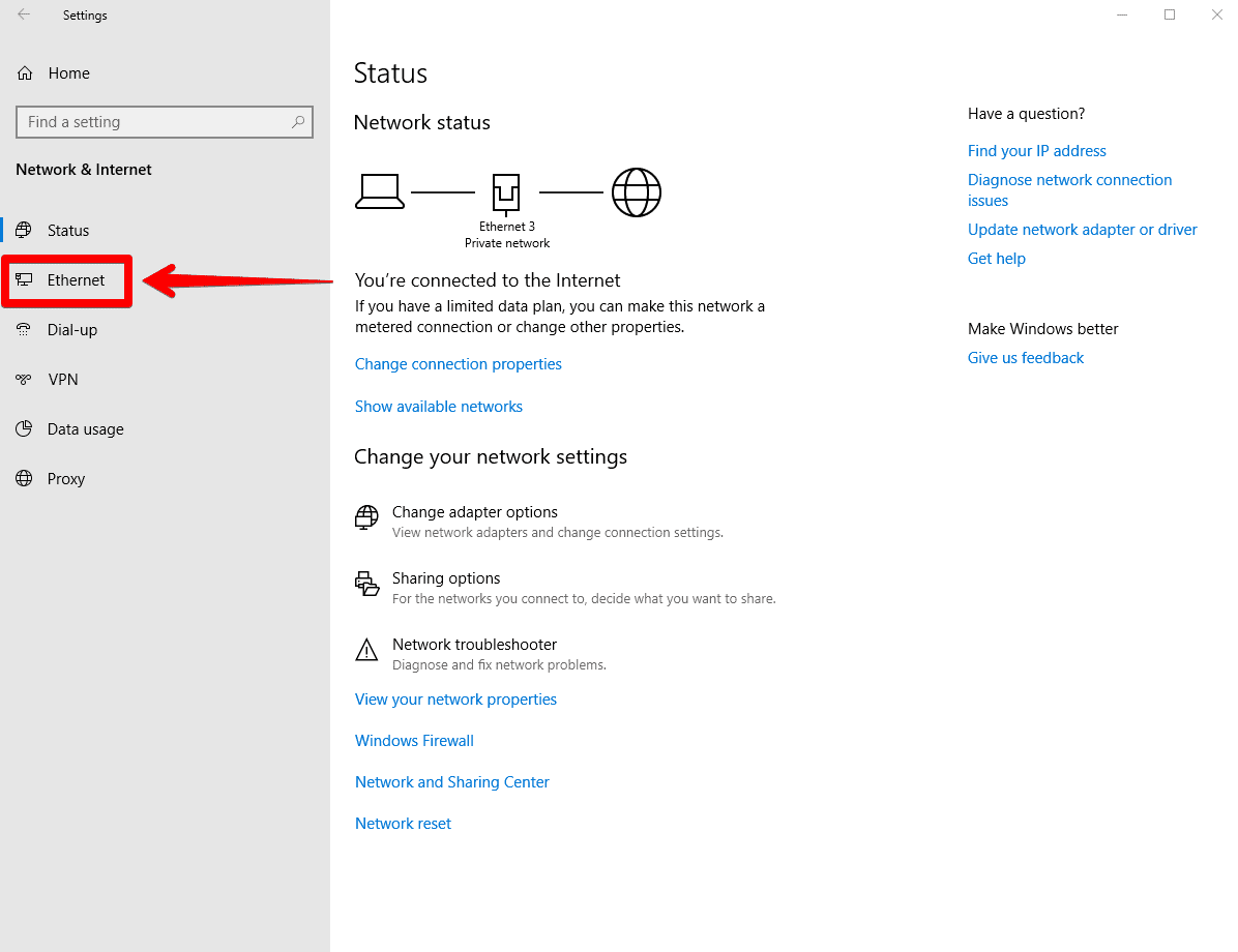 How to change DNS settings on Windows 10 - selecting the type of connection.